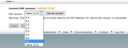 امکان تغییر ورژن php از سی پنل