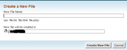 ایجاد فایل بوسیله File Manager